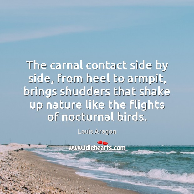The carnal contact side by side, from heel to armpit, brings shudders Louis Aragon Picture Quote