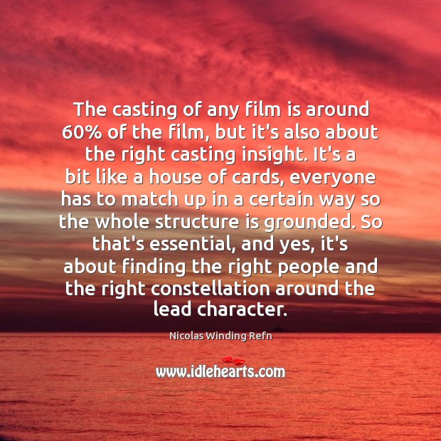 The casting of any film is around 60% of the film, but it's Image