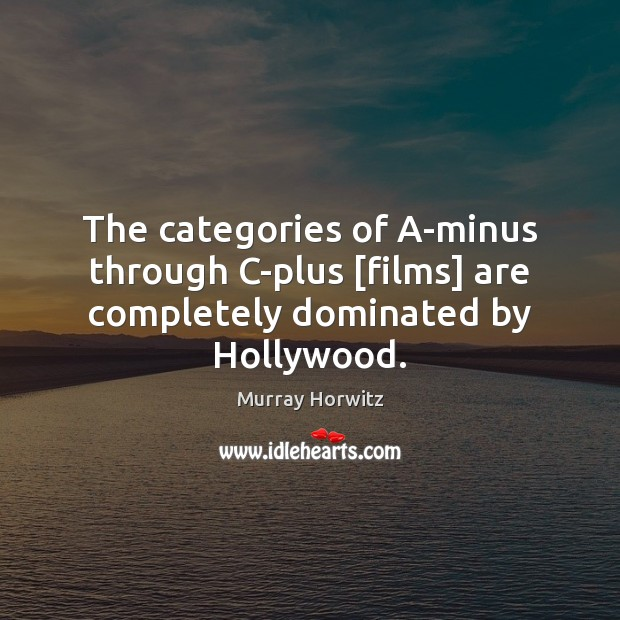 The categories of A-minus through C-plus [films] are completely dominated by Hollywood. Image