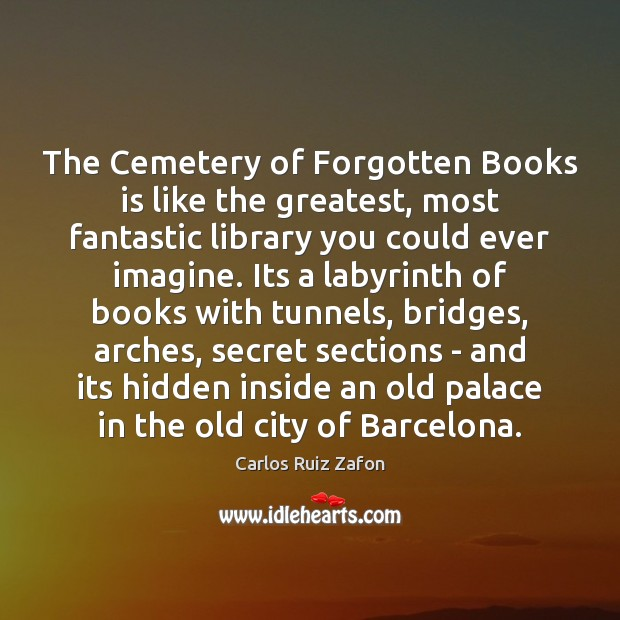 Image, The Cemetery of Forgotten Books is like the greatest, most fantastic library