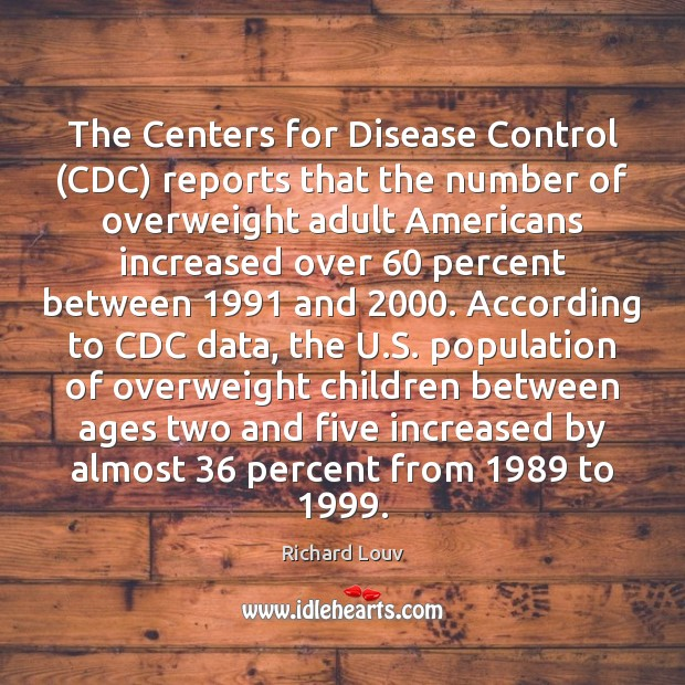 The Centers for Disease Control (CDC) reports that the number of overweight Image