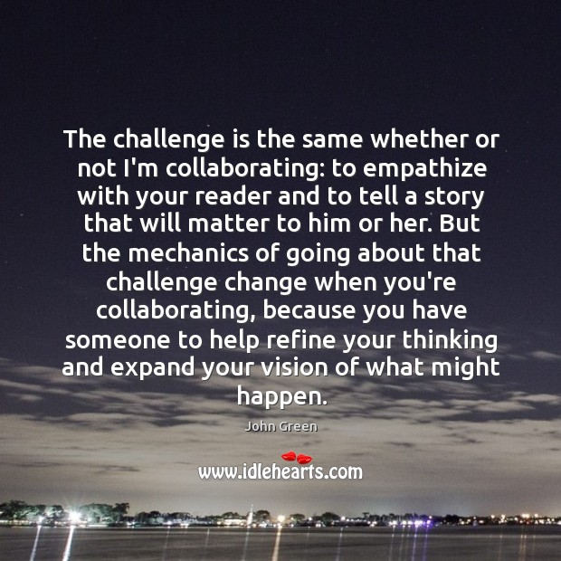 The challenge is the same whether or not I'm collaborating: to empathize Image