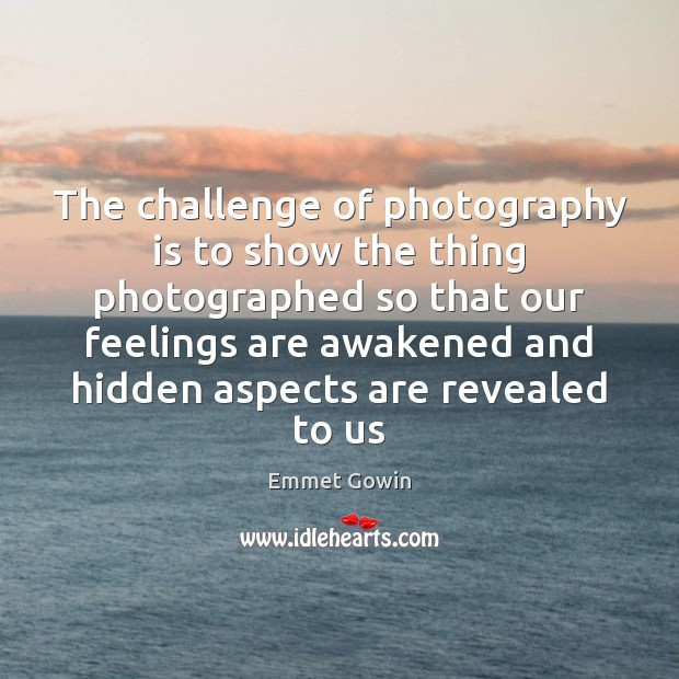 The challenge of photography is to show the thing photographed so that Image