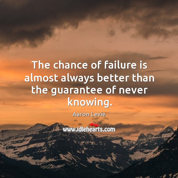 The chance of failure is almost always better than the guarantee of never knowing. Image