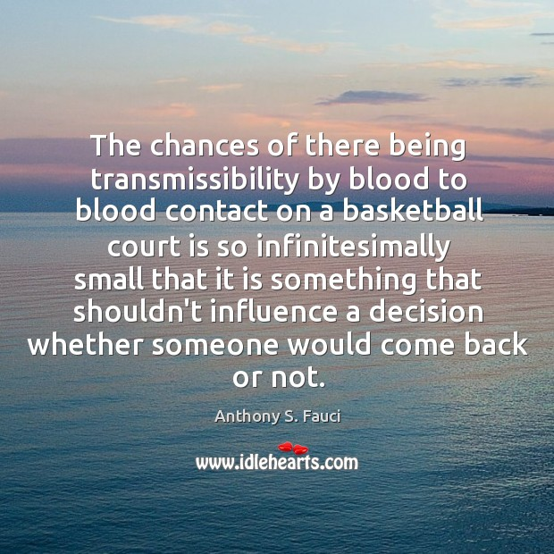 Image, The chances of there being transmissibility by blood to blood contact on