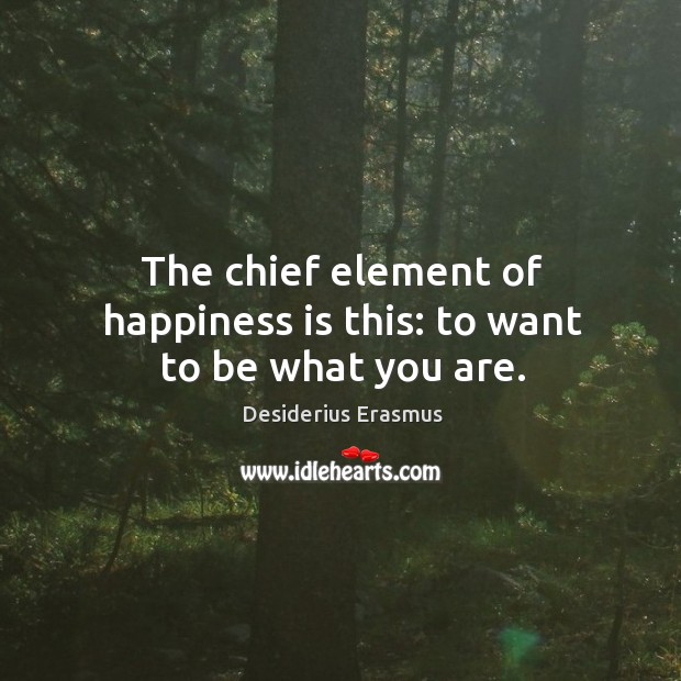 Image, The chief element of happiness is this: to want to be what you are.