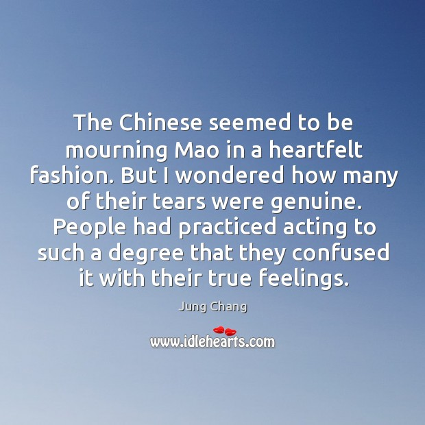 The chinese seemed to be mourning mao in a heartfelt fashion. Image