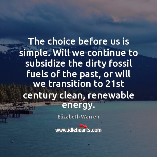 The choice before us is simple. Will we continue to subsidize the Elizabeth Warren Picture Quote