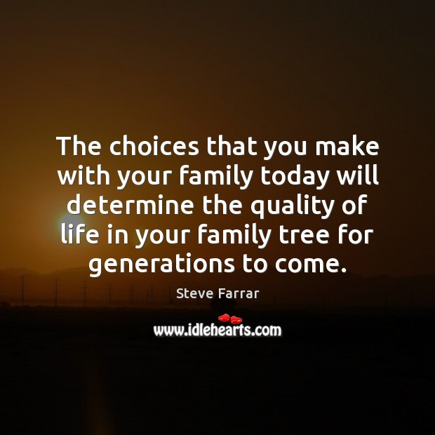 The choices that you make with your family today will determine the Image