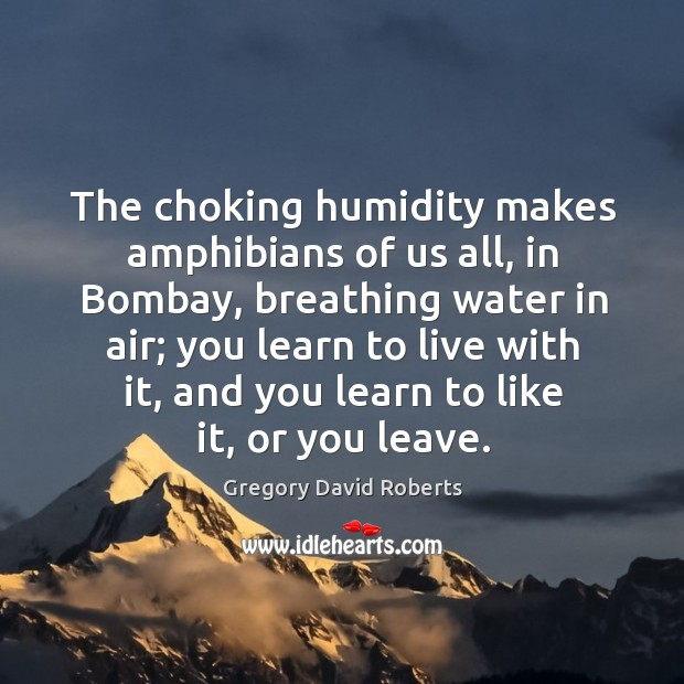 The choking humidity makes amphibians of us all, in Bombay, breathing water Image