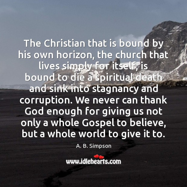 Image, The Christian that is bound by his own horizon, the church that