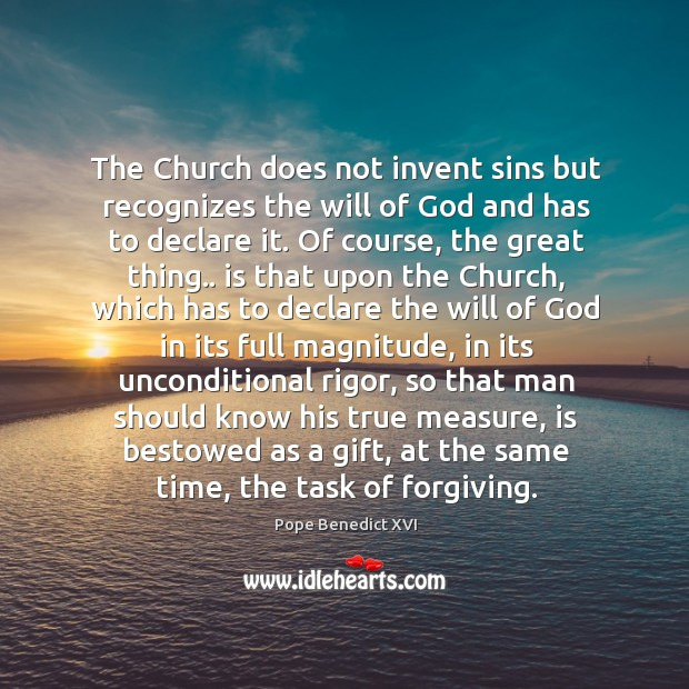 Image, The Church does not invent sins but recognizes the will of God