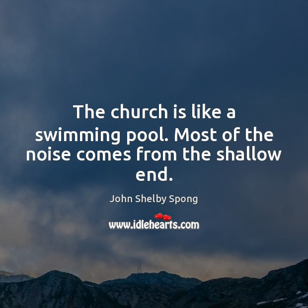 The church is like a swimming pool. Most of the noise comes from the shallow end. John Shelby Spong Picture Quote