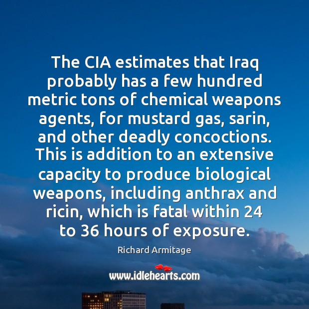 Image, The CIA estimates that Iraq probably has a few hundred metric tons