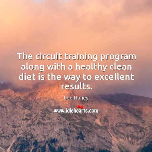 The circuit training program along with a healthy clean diet is the way to excellent results. Diet Quotes Image