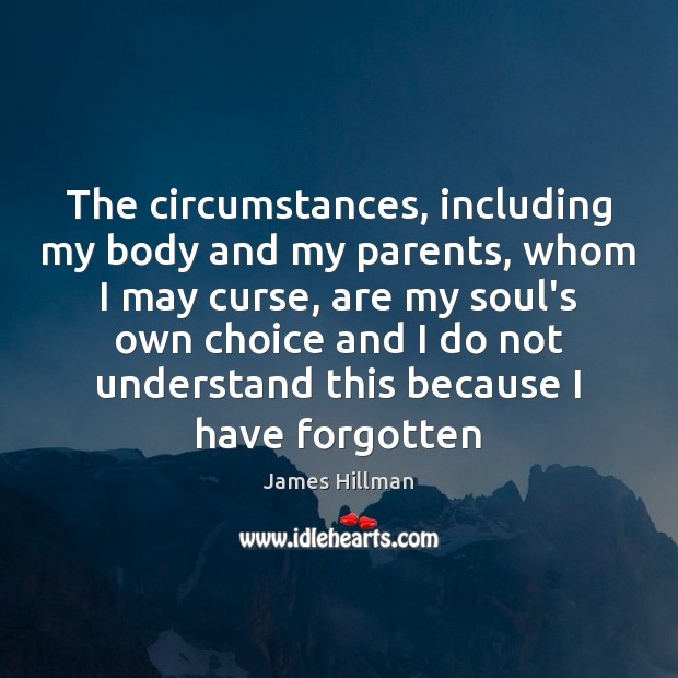 The circumstances, including my body and my parents, whom I may curse, James Hillman Picture Quote
