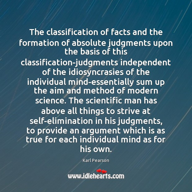 Image, The classification of facts and the formation of absolute judgments upon the