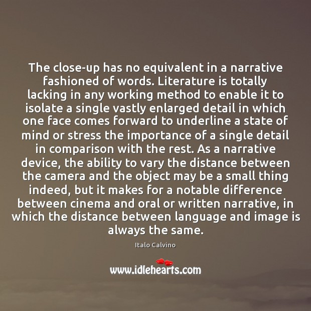 The close-up has no equivalent in a narrative fashioned of words. Literature Ability Quotes Image