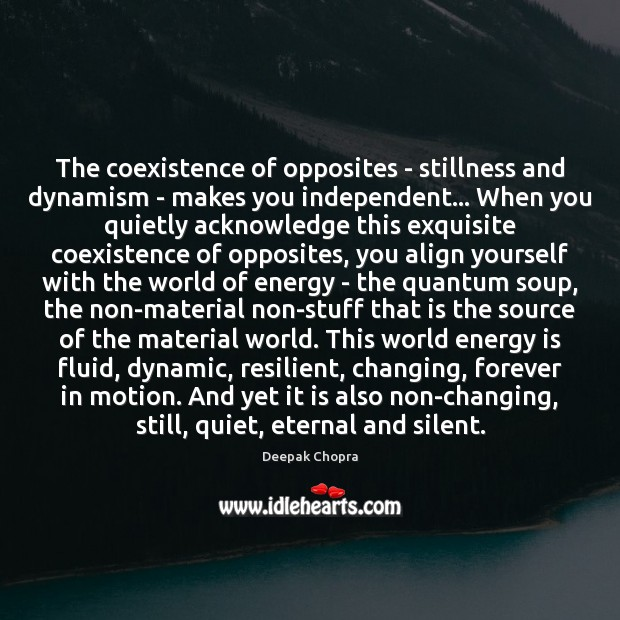The coexistence of opposites – stillness and dynamism – makes you independent… Coexistence Quotes Image