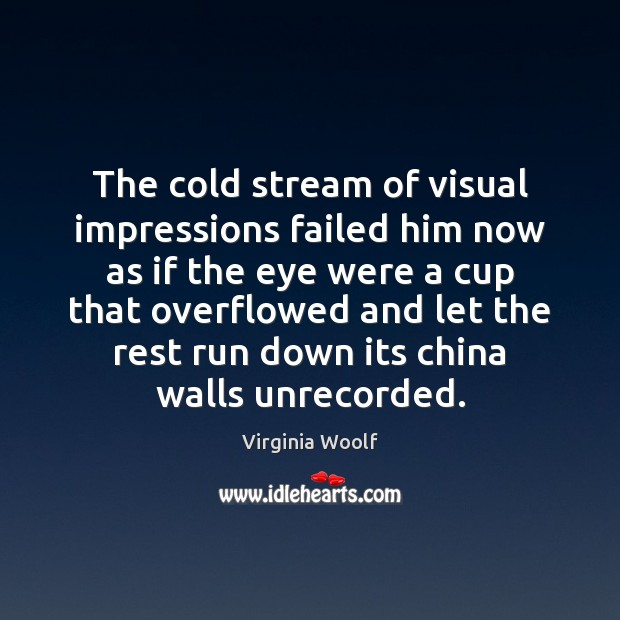 The cold stream of visual impressions failed him now as if the Image