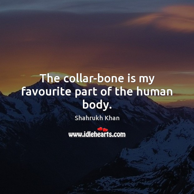 The collar-bone is my favourite part of the human body. Shahrukh Khan Picture Quote