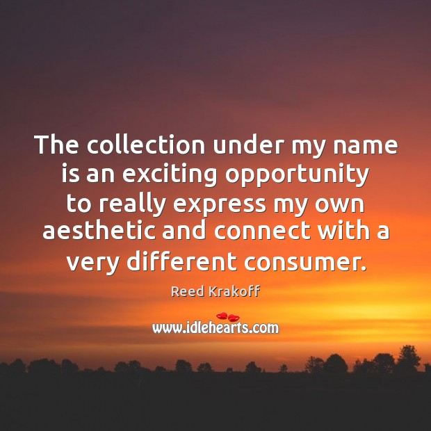 The collection under my name is an exciting opportunity to really express Opportunity Quotes Image