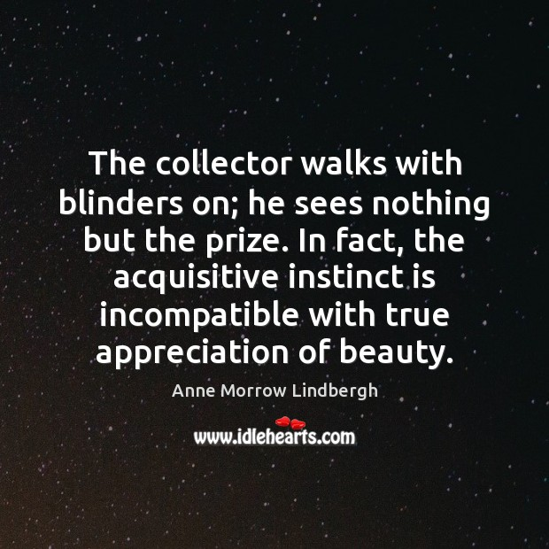 The collector walks with blinders on; he sees nothing but the prize. Anne Morrow Lindbergh Picture Quote
