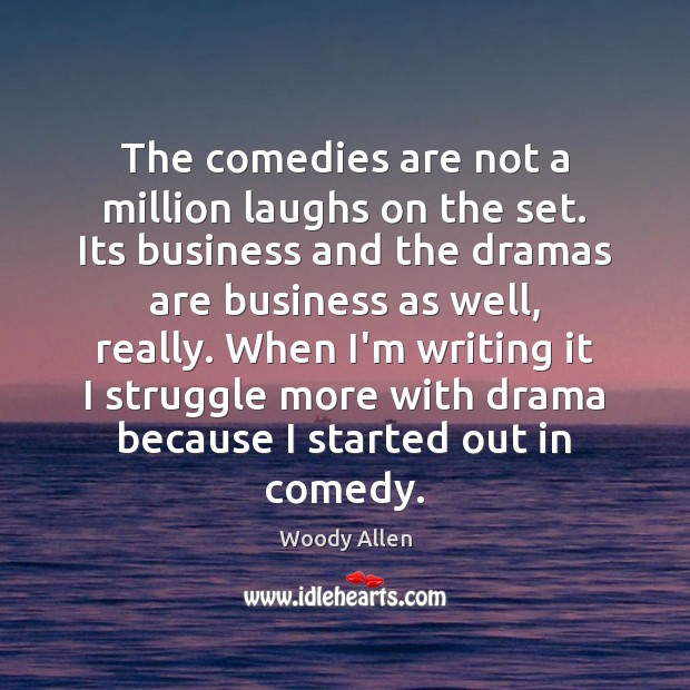 The comedies are not a million laughs on the set. Its business Woody Allen Picture Quote
