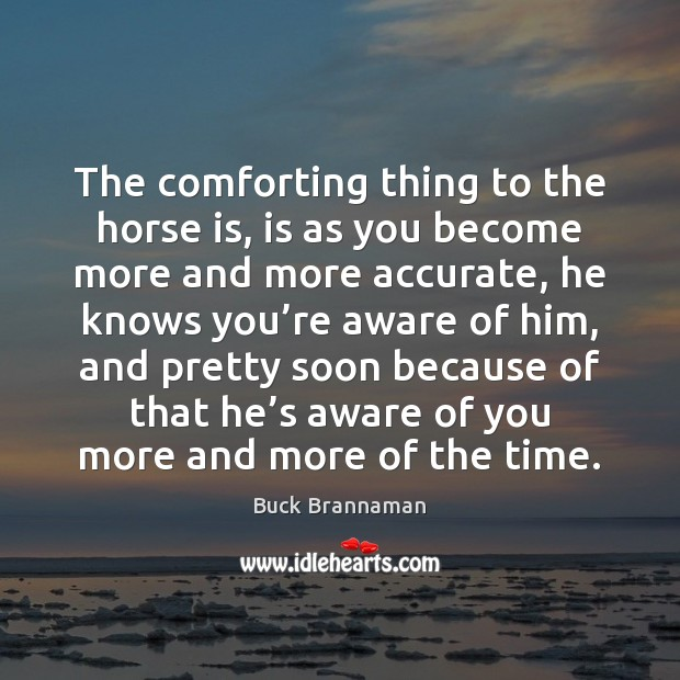 Image, The comforting thing to the horse is, is as you become more