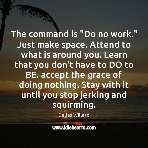 "The command is ""Do no work."" Just make space. Attend to what Image"
