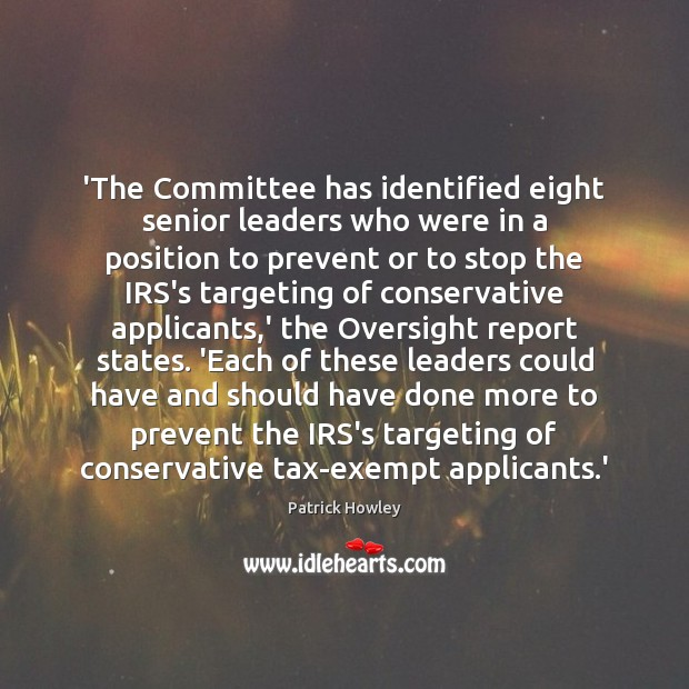 Image, 'The Committee has identified eight senior leaders who were in a position
