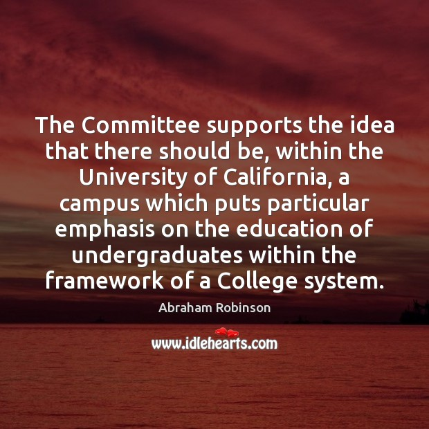Image, The Committee supports the idea that there should be, within the University