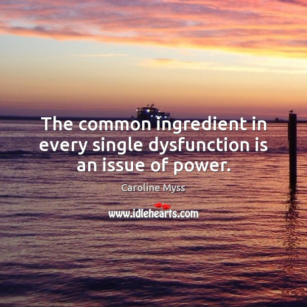 The common ingredient in every single dysfunction is an issue of power. Caroline Myss Picture Quote