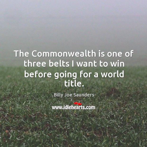 Image, The commonwealth is one of three belts I want to win before going for a world title.