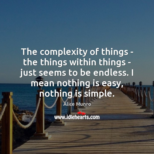 The complexity of things – the things within things – just seems Image