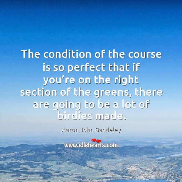 The condition of the course is so perfect that if you're on the right section of the greens Image
