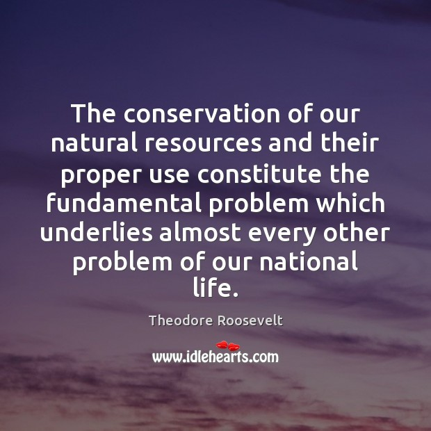 The conservation of our natural resources and their proper use constitute the Image
