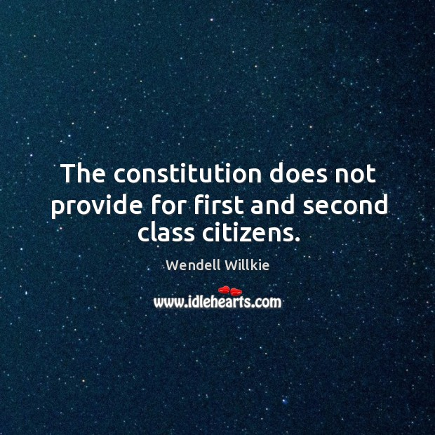 The constitution does not provide for first and second class citizens. Wendell Willkie Picture Quote