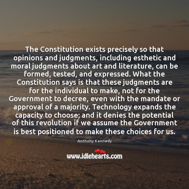 The Constitution exists precisely so that opinions and judgments, including esthetic and Image