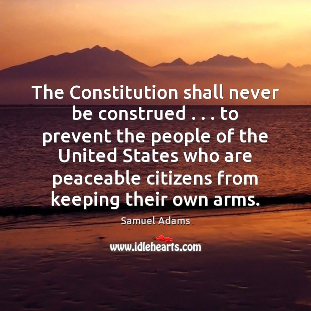 Image, The Constitution shall never be construed . . . to prevent the people of the