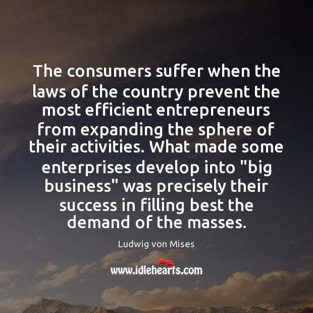 The consumers suffer when the laws of the country prevent the most Ludwig von Mises Picture Quote