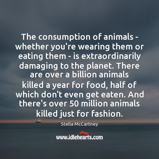 The consumption of animals – whether you're wearing them or eating them Stella McCartney Picture Quote