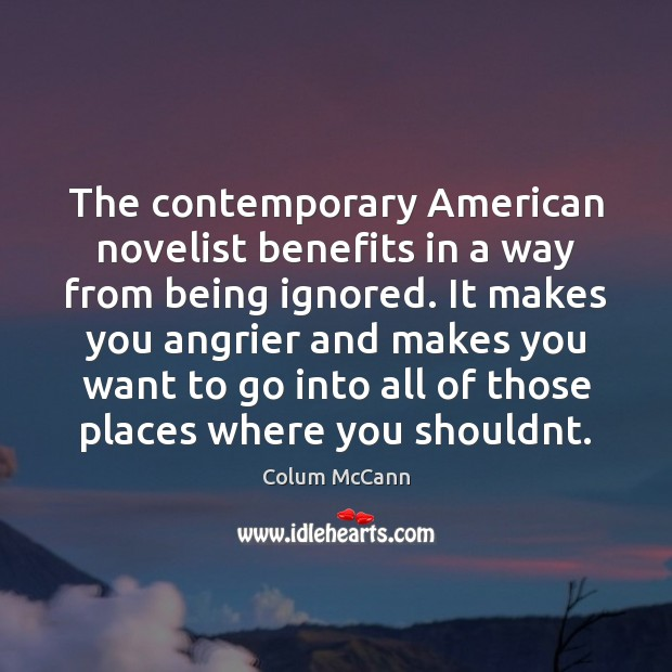 Image, The contemporary American novelist benefits in a way from being ignored. It