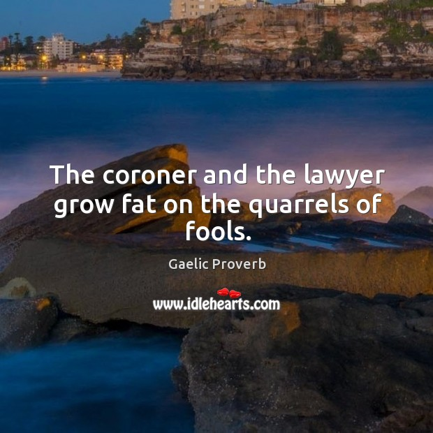 The coroner and the lawyer grow fat on the quarrels of fools. Gaelic Proverbs Image