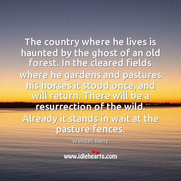 The country where he lives is haunted by the ghost of an Wendell Berry Picture Quote
