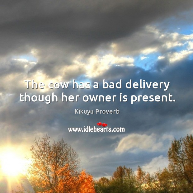 The cow has a bad delivery though her owner is present. Kikuyu Proverbs Image