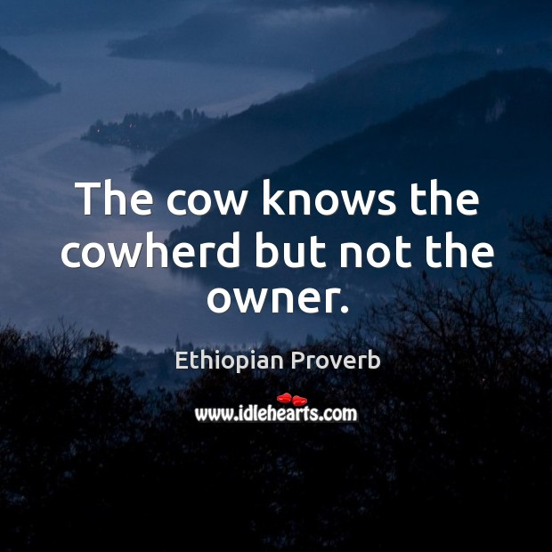 The cow knows the cowherd but not the owner. Ethiopian Proverbs Image