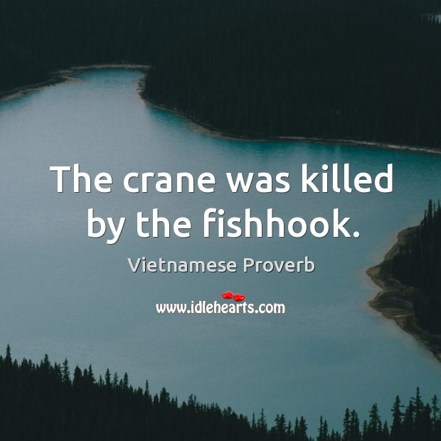 The crane was killed by the fishhook. Vietnamese Proverbs Image