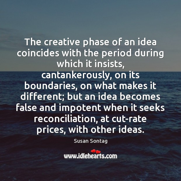 Image, The creative phase of an idea coincides with the period during which