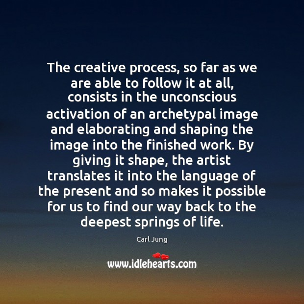 Image, The creative process, so far as we are able to follow it